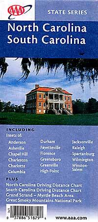 South Carolina Road and Tourist Map, America.