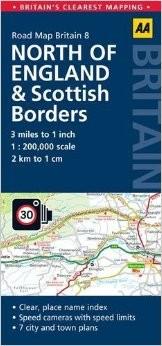 North England & Scottish Borders Road and Tourist Map.