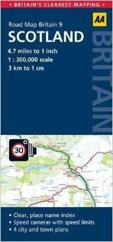 Scotland Road and Tourist Map.