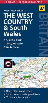 The West Country & South Wales Road and Tourist Map.