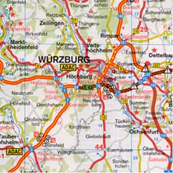Germany, South, Road and Shaded Relief Tourist Map.