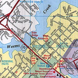 Annapolis Visitor's Map, Maryland, America.