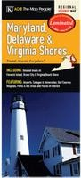 Delaware, Maryland, and Virginia Shores Laminated Road Map, America.