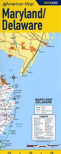 """Delaware and Maryland """"State Slicker"""" Road and Tourist Map, America."""