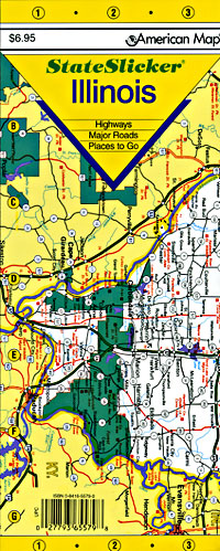 "Illinois ""StateSlicker"" Road and Tourist Map, America."