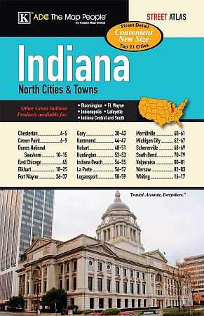 Indiana State Regional Cities & Towns Street ATLAS, Indiana, America.