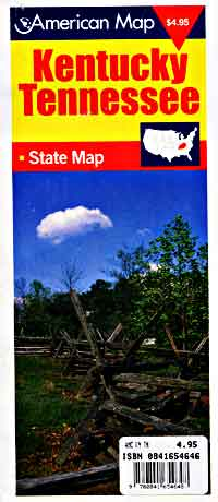 Tennessee and Kentucky, Tourist Road Map, America.