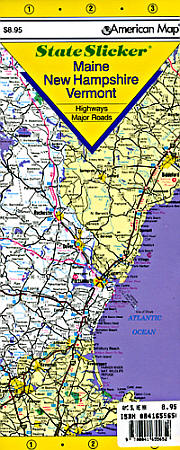 """New Hampshire, Maine and Vermont """"StateSlicker"""" Road and Tourist Map, America."""