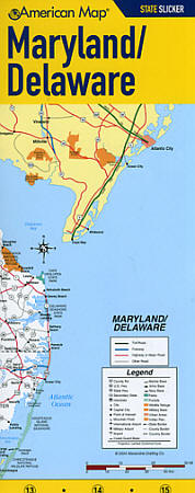 """Maryland and Delaware """"StateSlicker"""" Road and Tourist Map, America."""