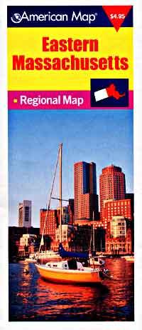 Massachusetts Eastern Road and Tourist Map, America.