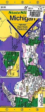 "Michigan ""StateSlicker"" Road and Tourist Map, America."