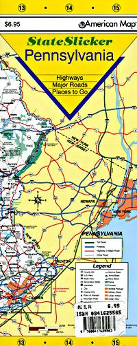 "Pennsylvania ""StateSlicker"" Road and Tourist Map, America."