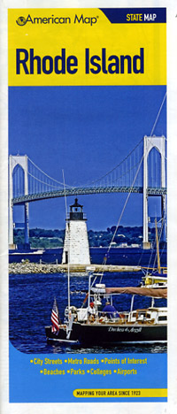 Rhode Island Road and Tourist Map, America.