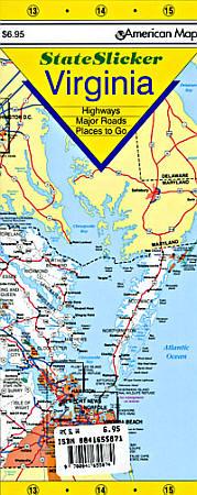 "Virginia ""StateSlicker"" Road and Tourist Map, America."