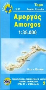 Amorgos, Road and Tourist Map, Greece.