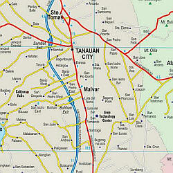Luzon (Southwest) Road and Shaded Relief Tourist Map.