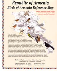 Birds of Armenia, Road and Tourist Map.