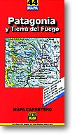 Patagonia and Tierra del Fuego, Road and Shaded Relief Tourist Map, Argentina and Chile.