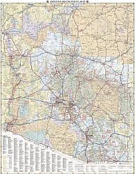 Arizona Road and Recreation Map, America.
