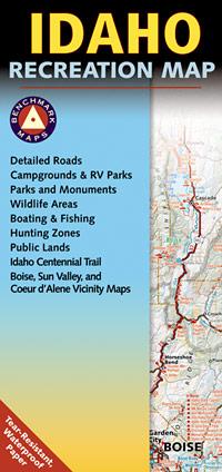 Idaho Road and Recreation Map, Idaho, America.