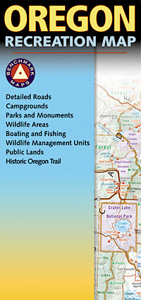 Oregon Road and Recreation Map, America.
