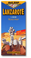 Lanzarote Island, Road and Shaded Relief Tourist Map, Canary Islands, Spain.