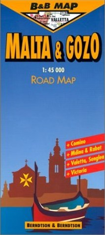 Malta, Road and Shaded Relief Tourist Map, Mediterranean.