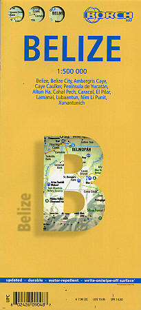 Belize Road and Tourist Map.