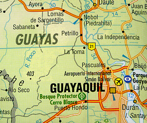 Ecuador Road and Shaded Relief Tourist Map.