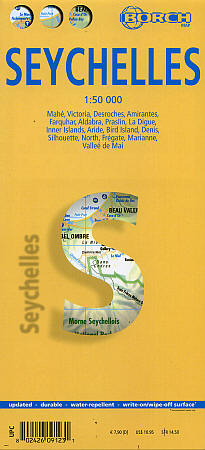 Seychelles Road and Tourist Map, Indian Ocean.