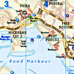 Virgin Islands (US and British), Road and Shaded Relief Tourist Map, West Indies.
