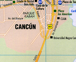 Yucatan Peninsula, Road and Shaded Relief Tourist Map, Mexico.