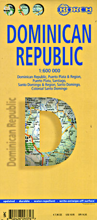 Dominican Republic, Road and Shaded Relief Tourist Map, West Indies.