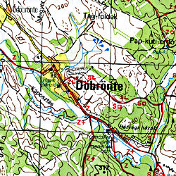 Bakony North Road and Shaded Relief Tourist Map, Hungary.