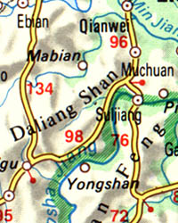 China and Mongolia Road and Shaded Relief Map.