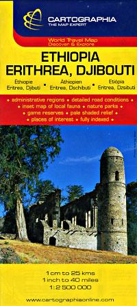 Ethiopia, Eritrea & Djibouti, Road and Shaded Relief Map.