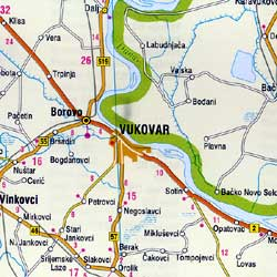 Croatia and Slovenia, Road and Shaded Relief Tourist Map.