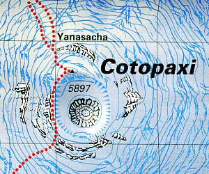Cotopaxi Climbing and Trekking Map, Ecuador.