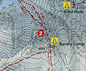Kilimanjaro Climbing and Trekking Map, Tanzania (and Kenya).