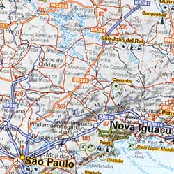 Brazil Road and Shaded Relief Map.