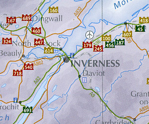 """Scotland """"Castles"""" Road and Shaded Relief Map."""
