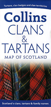 """Scotland """"Clans and Tartans"""" Road and Shaded Relief Map."""
