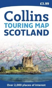 """Scotland """"Touring"""" Road and Shaded Relief Map."""