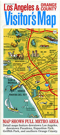Los Angeles and Orange County Visitor's Map, California, America.