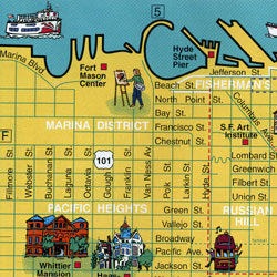 San Francisco Bay Area Visitor's Map, California, America.