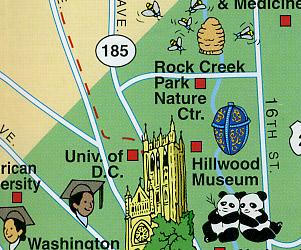 Washington, DC Visitor's Map, America.