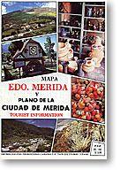 Merida State, Road and Tourist Map, Venezuela.