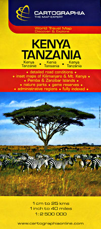 Kenya and Tanzania, Road and Shaded Relief Tourist Map.