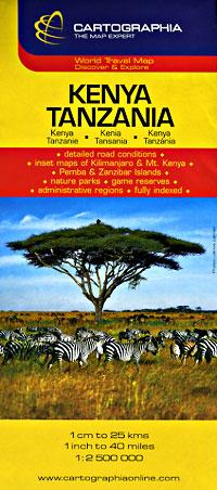 Tanzania and Kenya, Road and Tourist Map.