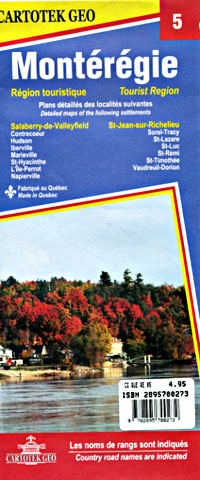 Quebec Province Tourist Road Map #05 (Mont?r?gie), Canada.